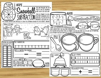 Common Core Addition and Subtraction - Winter Math Printables