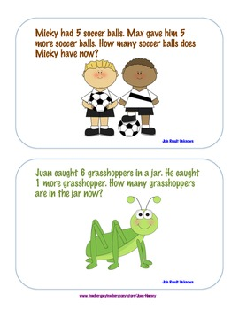 Kdg. Addition and Subtraction Story Cards Common Core Math Kdg. types