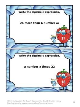 Algebraic Expressions Game, Algebra 1 Review Activities, Grade 6