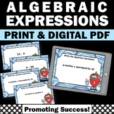 Algebraic Expressions, Algebra Task Cards, 5th Grade Math Review