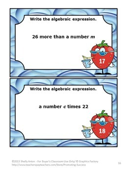 Algebraic Expressions, Algebra Task Cards, 5th Grade Math Review