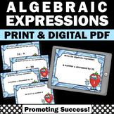 Translating Writing Algebraic Expressions Task Cards 5th 6th Grade Math Digital
