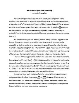 Common Core Math Article - Ratios and Proportional Reasoning
