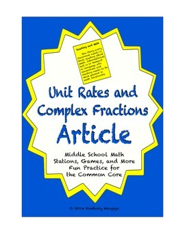 Common Core Math Article - Unit Rates and Complex Fractions