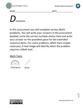 Common Core Math Assessment (3) Grade 5