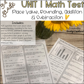 3rd Grade Math Unit 1 Test