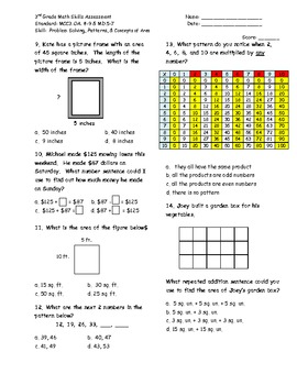 Common Core Math Assessment 3rd Grade Unit 4 Assessment (OA8-9; MD5-7)