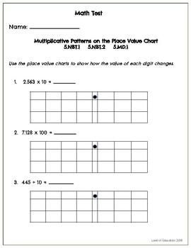 Common Core Math Assessment - 5th Grade (Module 1 Topic A)