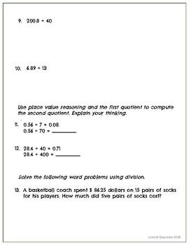 Common Core Math Assessment - 5th Grade (Module 2 Topic G)