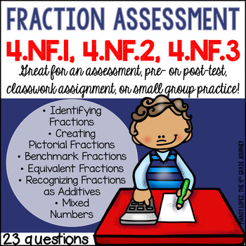 Common Core Math Assessment-- Fractions {4.NF.1, 4.NF.2 and 4.NF.3}