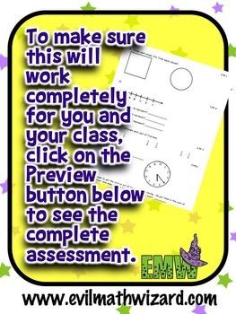 Common Core Math Assessment - Gr 4 Back to School Snapshot -  Editable