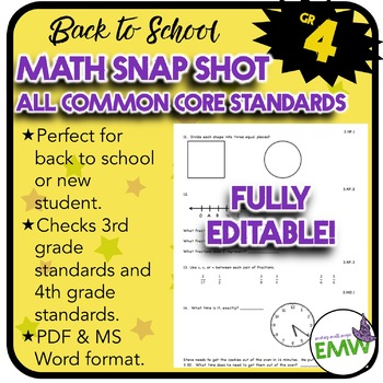 Common Core Math Assessment - Gr 4 Back to School Snapshot
