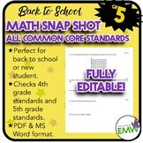 Common Core Math Assessment - Gr 5 Back to School Snapshot -  Editable
