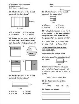 Partitioning Shapes 3G.2 Common Core Math Assessment