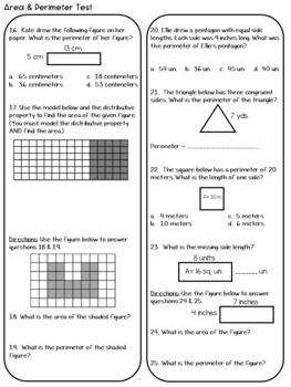 Area & Perimeter 3MD.7 & 8 Common Core Math Assessment