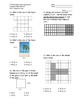 Concepts of Area 3MD.5-7 Common Core Math Assessment