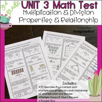 Common Core Math Assessment Grade 3 OA5-7 (Unit 3 Test)