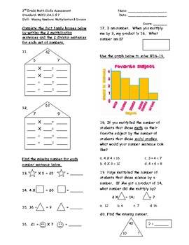 Algebra: Missing Numbers OA.6 & 7 Common Core Math Assessment