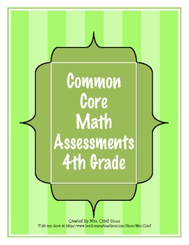 Common Core Math Assessment for 4th Grade