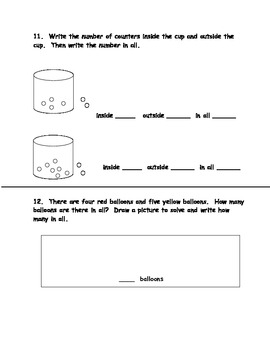 Common Core Math Assessment for First Grade First Quarter