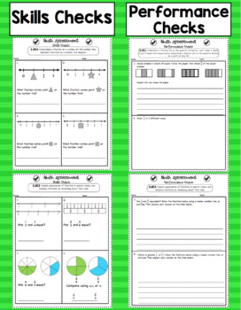 Common Core Math Assessments - 3rd Grade Number and Operations - Fractions