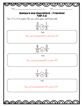 Common Core Math Assessments - 4th Grade Numbers & Operations FRACTIONS 4.NF