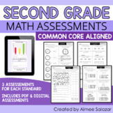 Math Assessments for Second Grade (PDF & Digital) / Distan