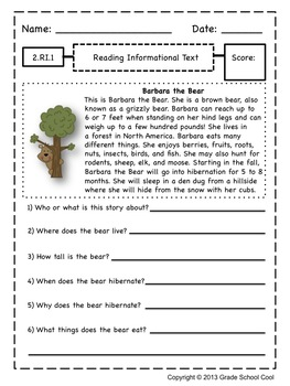 Common Core ELA Assessments Grade 2 (Reading Informational Text)