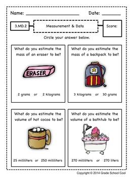 Common Core Math Assessments Grade 3 (Measurement & Data)