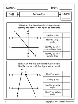 Common Core Math Assessments Grade 4 (Geometry)