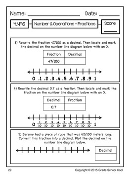 Common Core Math Assessments Grade 4 (Number & Operations - Fractions)