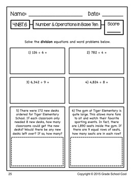 Common Core Math Assessments Grade 4 (Number & Operations in Base Ten)