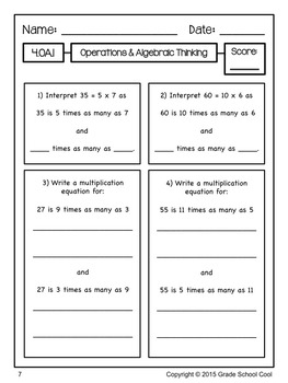 Common Core Math Assessments Grade 4 (Operations & Algebraic Thinking)