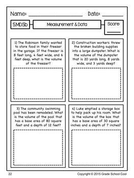 Common Core Math Assessments Grade 5 (Measurement & Data)