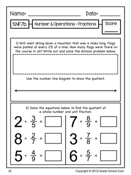 Common Core Math Assessments Grade 5 (Number & Operations - Fractions)