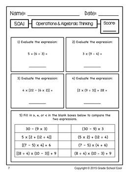 Common Core Math Assessments Grade 5 (Operations & Algebraic Thinking)