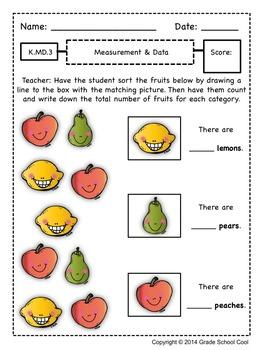 Common Core Math Assessments Grade K (Measurement & Data)