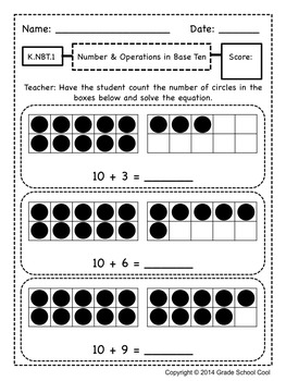 Common Core Math Assessments Grade K (Number & Operations in Base Ten)