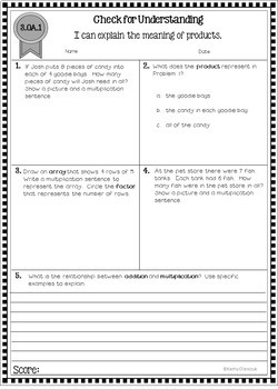 Common Core Math Assessments - Third Grade
