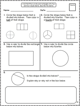 Common Core Math Assessments for 1st Grade - Geometry (Grade 1 CCSS)