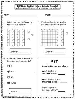 Math Assessments for 2nd Grade - FREEBIE