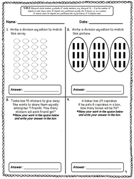 Common Core Math Assessments for 3rd Grade - Operations and Algebraic Thinking