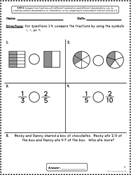 Common Core Math Assessments for 4th Grade - Number and Operations - Fractions