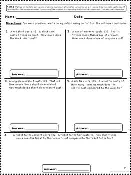 Common Core Math Assessments for 4th Grade - Operations and Algebraic Thinking