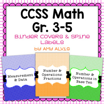 Common Core Math Binder Covers and Spine Labels 3rd 4th and 5th grade