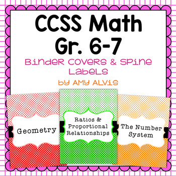 Common Core Math Binder Covers and Spine Labels - 6th and 7th grade