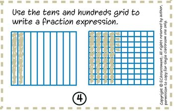 Adding Fractions with Denominators of 10 & 100 (4.NF.5):Math Lesson & Task Cards