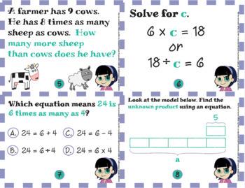 Common Core Math Bundle: 4.OA.1 & 4.OA.2  -Math Lesson and Task Cards