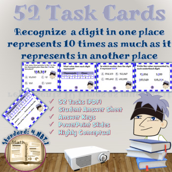 Place Value of Whole Numbers (4.NBT.1): Digital Math Lesson and Task Cards