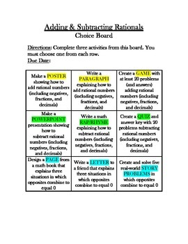 Common Core Math - CHOICE BOARD Adding & Subtracting Rationals - 7th Grade